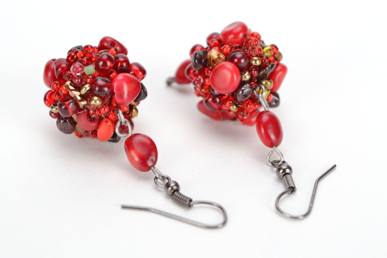 Earrings with coral and amber photo 3