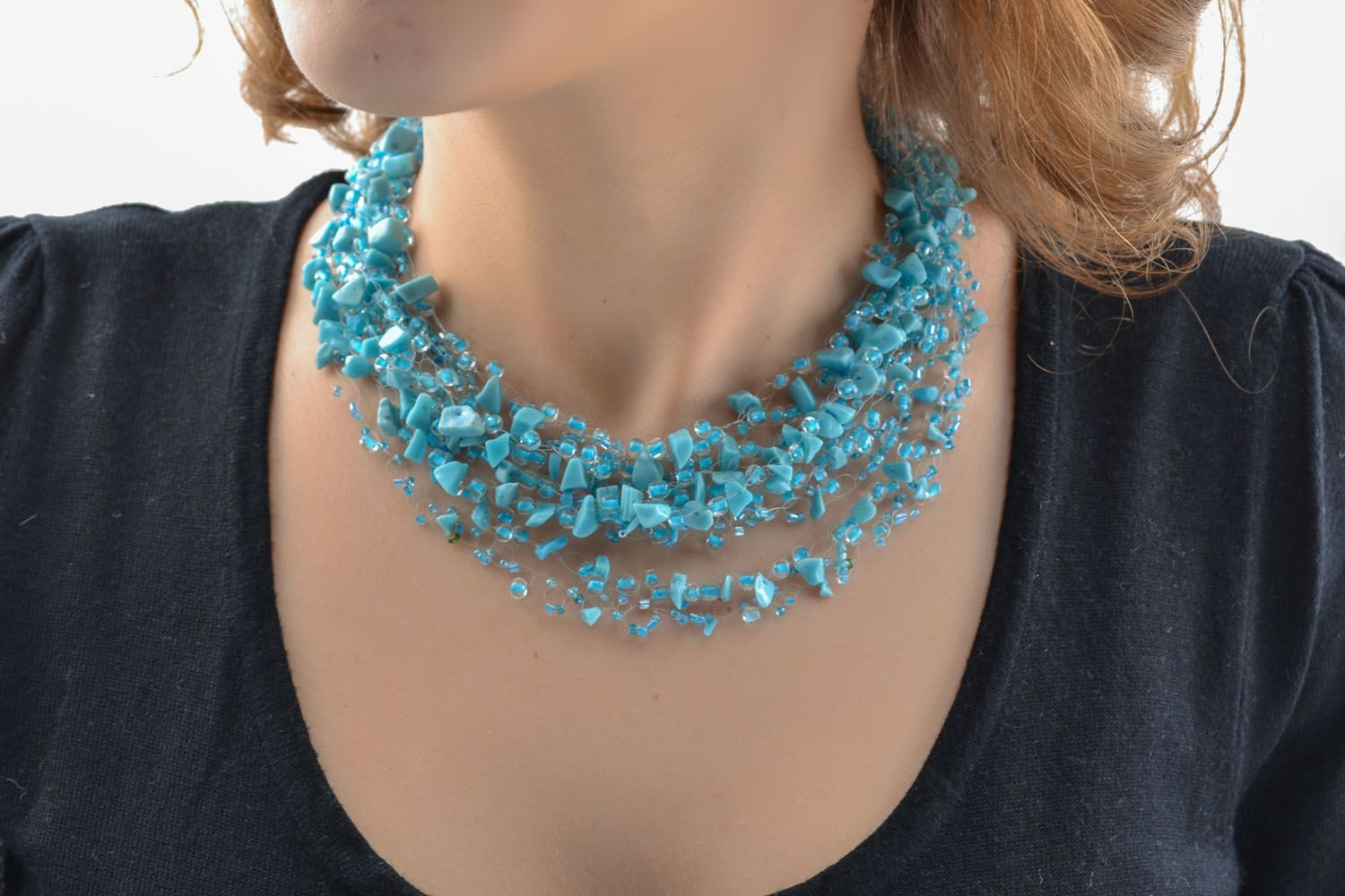 Necklace with turquoise and beads photo 5