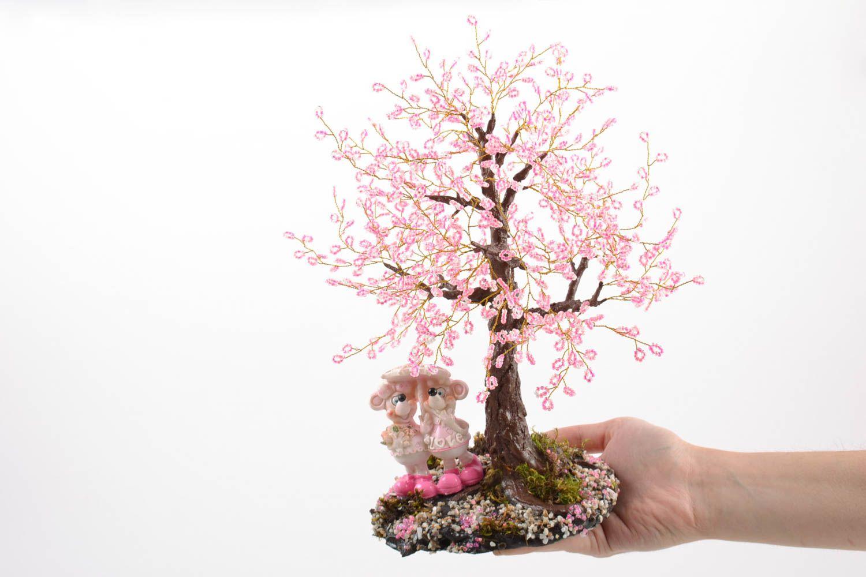 madeheart arbre topiaire en perles de rocaille fait main cerisier du japon d coration. Black Bedroom Furniture Sets. Home Design Ideas
