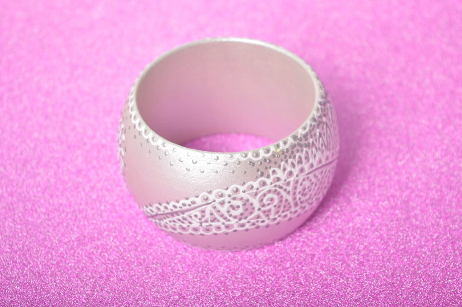 Handmade wide wrist bracelet grey designer bracelet cute present for women photo 2