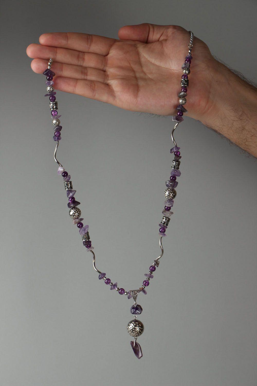 Unusual beaded necklace with amethyst Violet Dreams photo 4