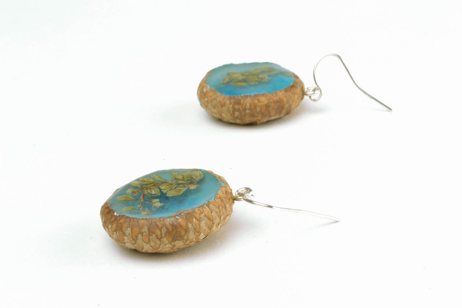 Earrings with dried flowers Acorns photo 4