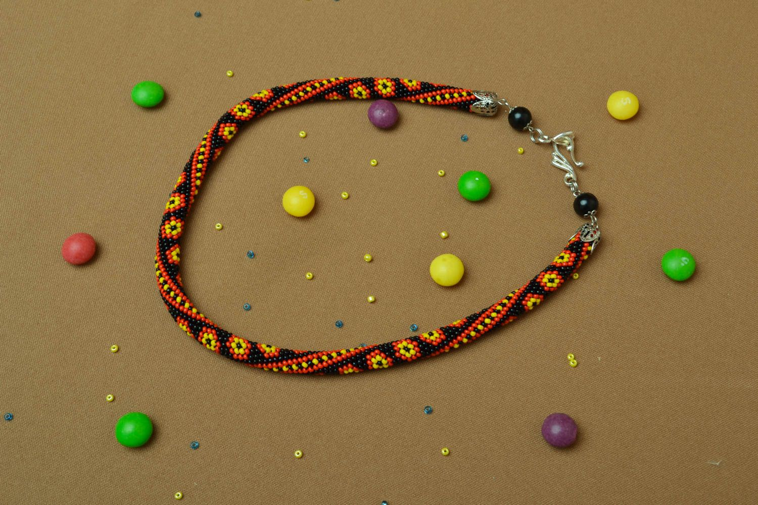 Beaded cord necklace Ornament photo 5