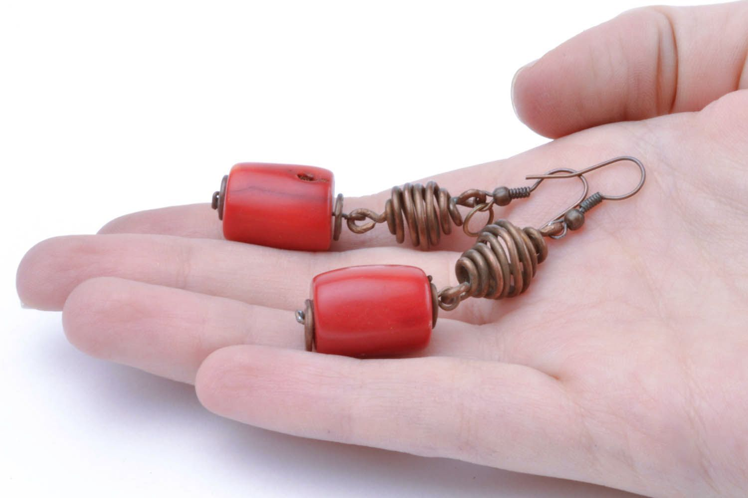 Copper earrings with coral stones photo 2