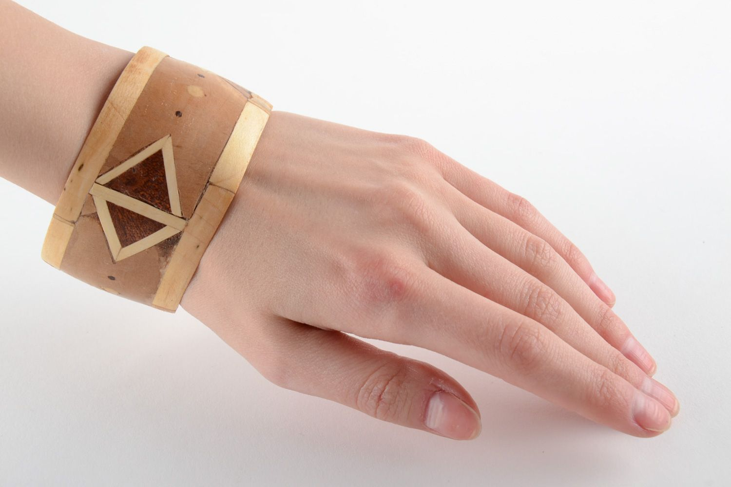 Broad handmade wooden wrist bracelet with geometric ornament with intarsia  photo 6