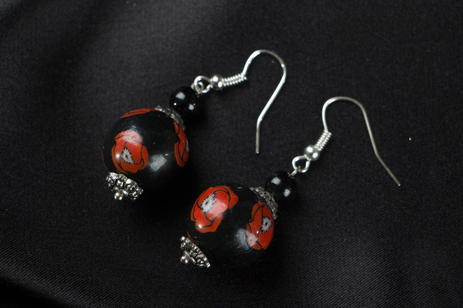 Round polymer clay earrings Poppies photo 1