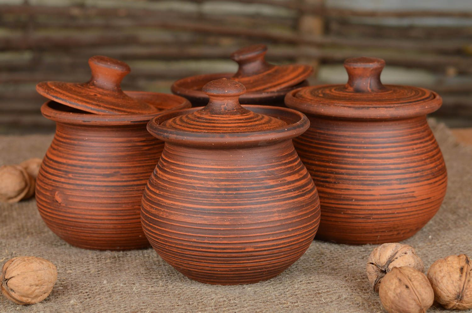 Set of handmade ceramic pots with lids for baking 4 items for 400 ml photo 2