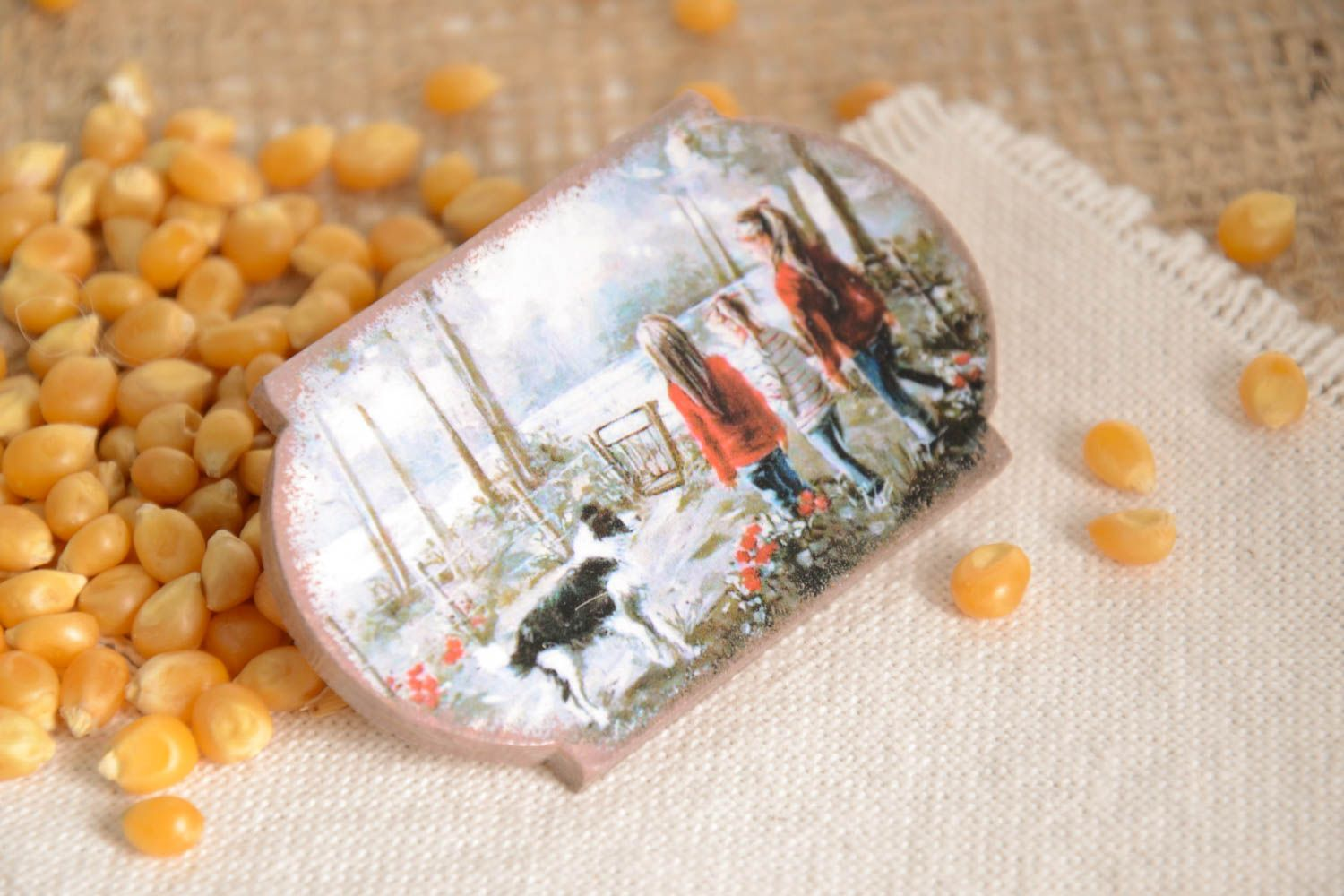 Unusual handmade magnet kitchen supplies decoupage ideas decorative use only photo 1