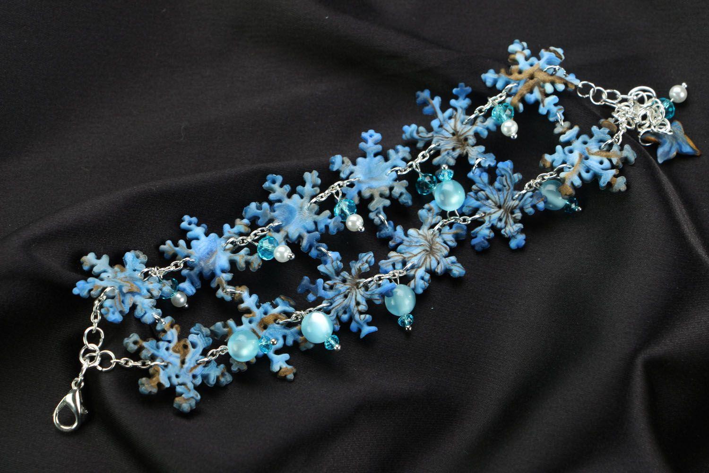 Polymer Clay Armband handgemacht Schneeflocken foto 1
