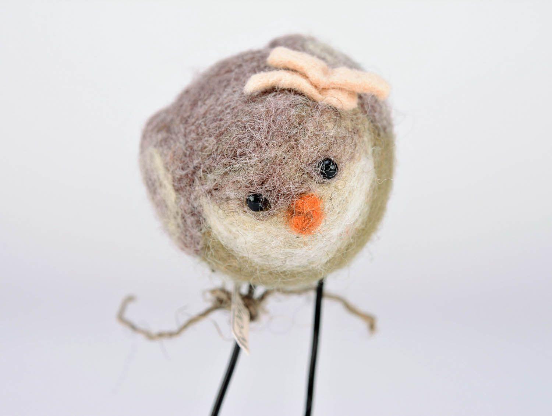 Woolen toy A bird with a flower photo 4