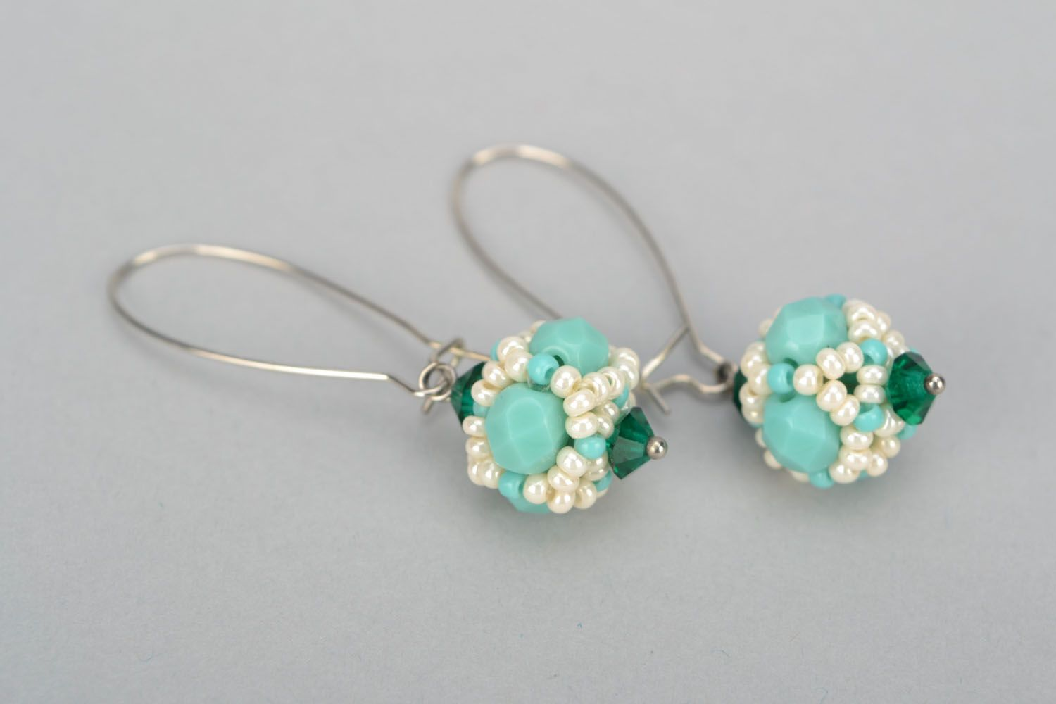 Earrings with Czech beads and glass photo 5