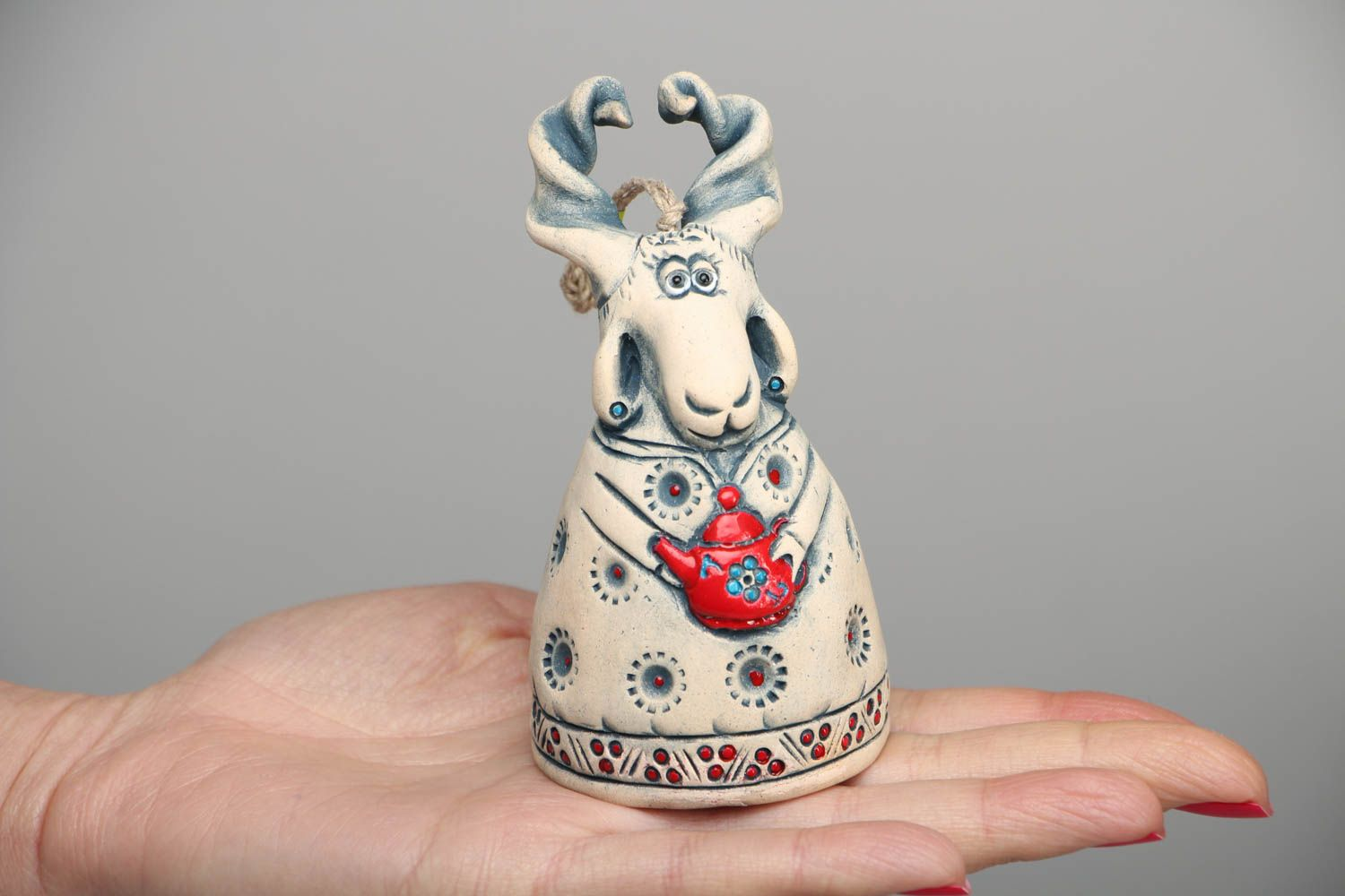 Beautiful designer ceramic bell in the shape of goat photo 4