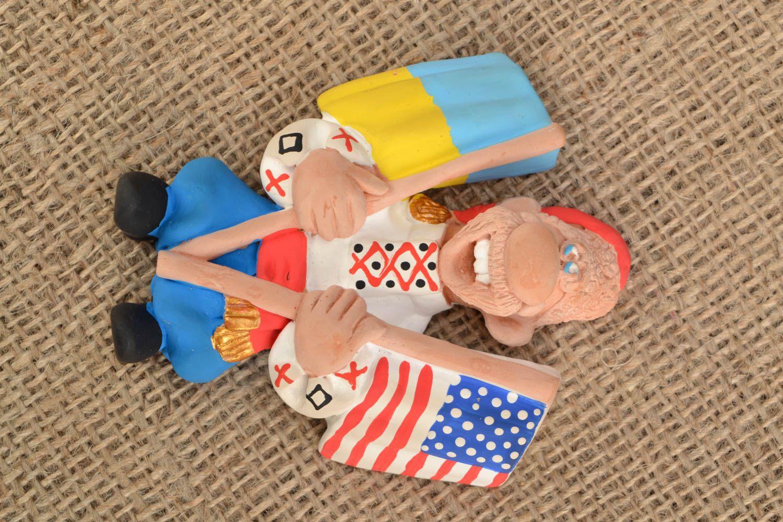 Ceramic fridge magnet Cossack with Flags photo 1