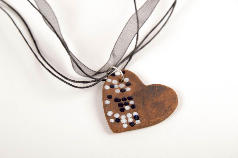 Кулон ручной работы керамическое украшение с росписью украшение на шею Сердце фото 4