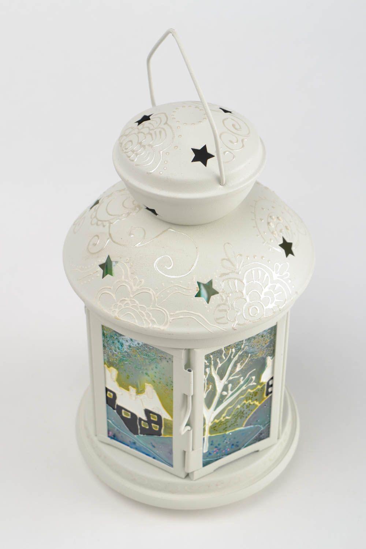 Bougeoir luminaire fait main en métal peint blanc décoration originale - MADEheart.com