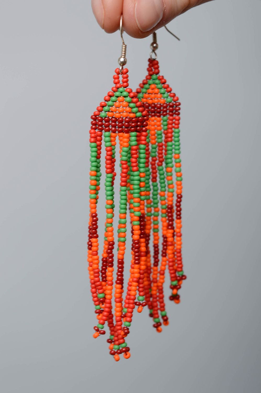 Handmade long beaded earrings  photo 4