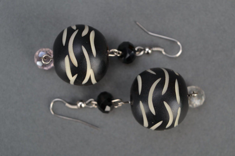 dangle earrings Earrings with black beads - MADEheart.com