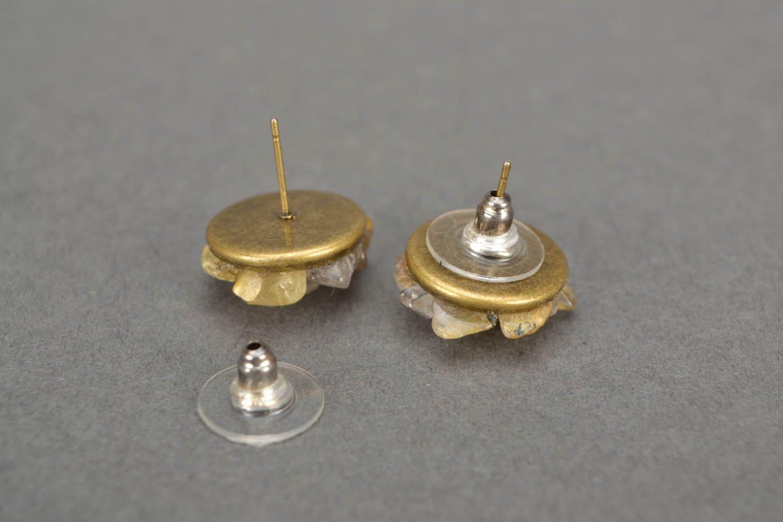 Quartz stud earrings  photo 4