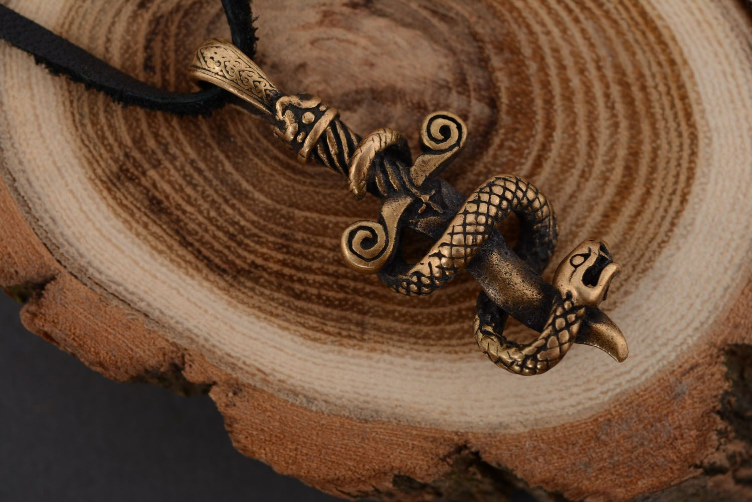 Bronze pendant Snake and Sword photo 4