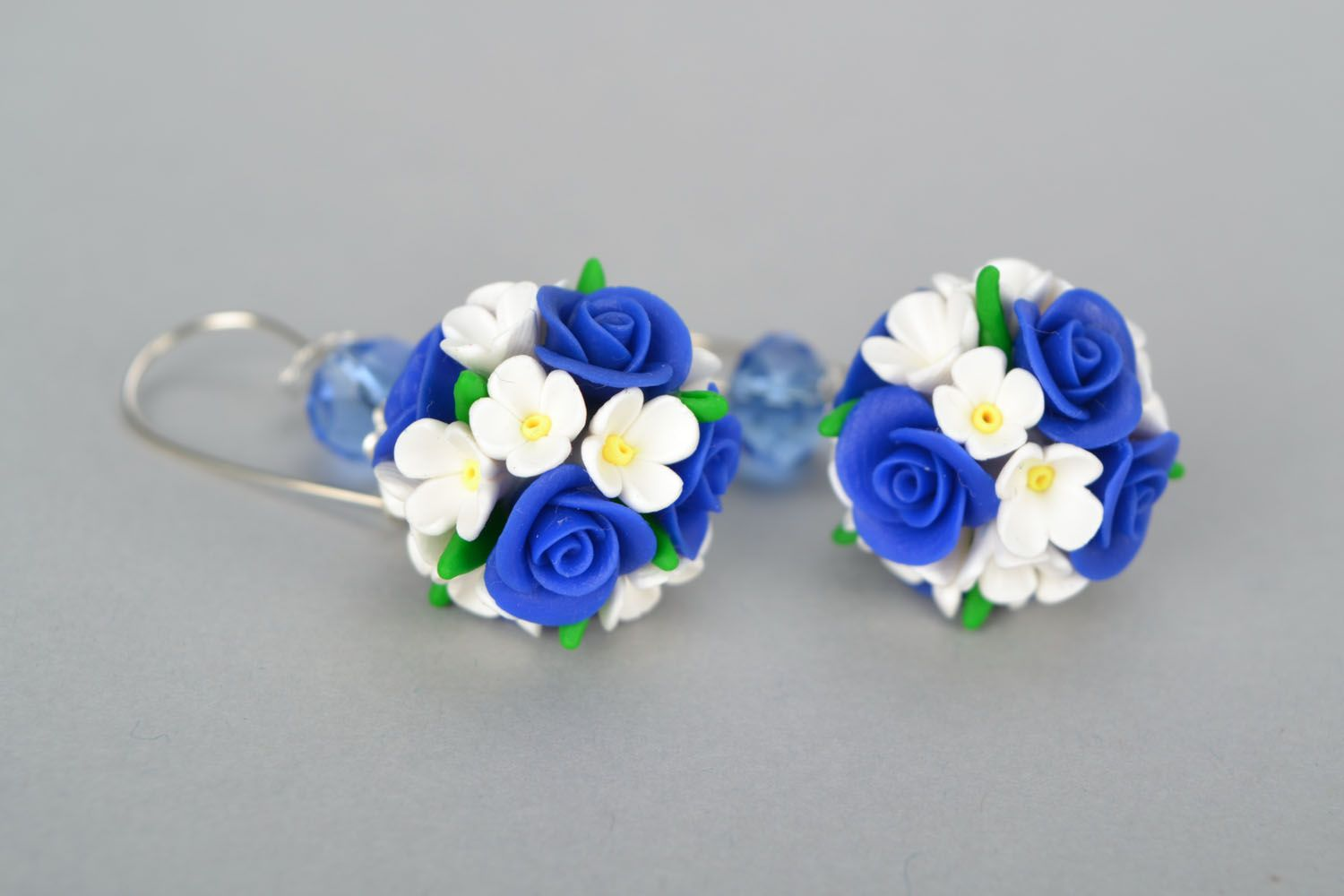Round polymer clay earrings photo 3