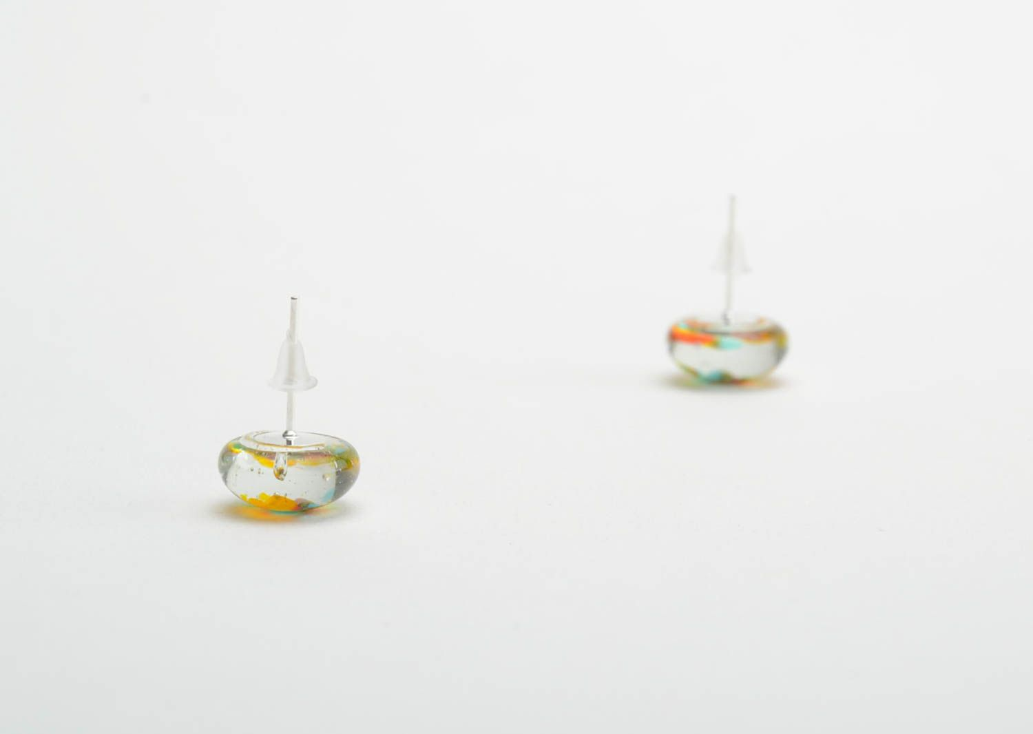 stud earrings Small round earrings made of glass beautiful women accessory for every day - MADEheart.com
