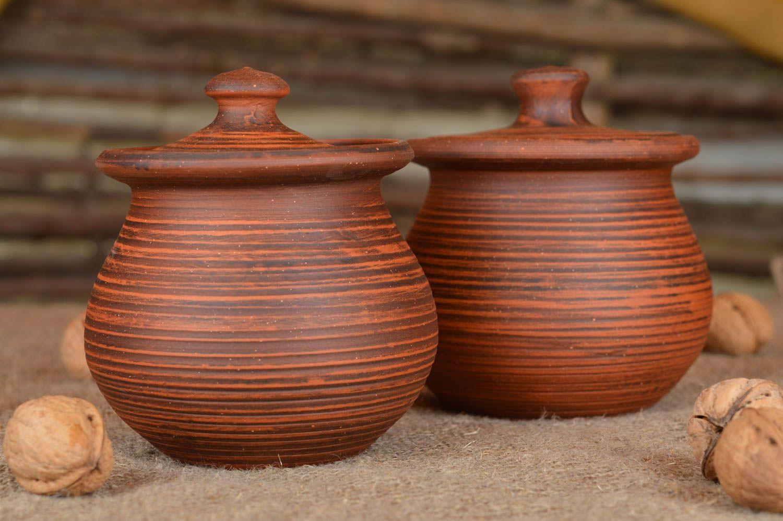 Madeheart potes con tapa hechos a mano para asado for Arcilla para ceramica