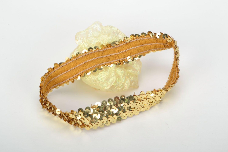 Handgemachtes Haarband mit Blume Sonne in Gold foto 5