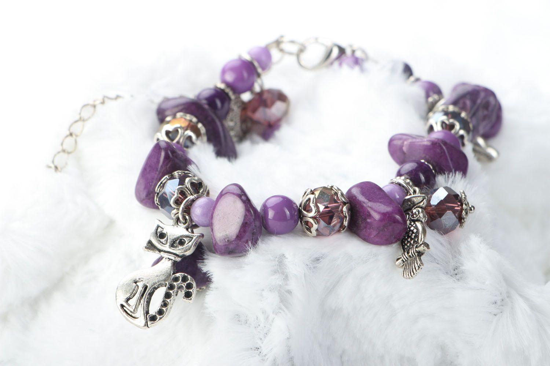 Natural stone bracelet of violet color photo 2