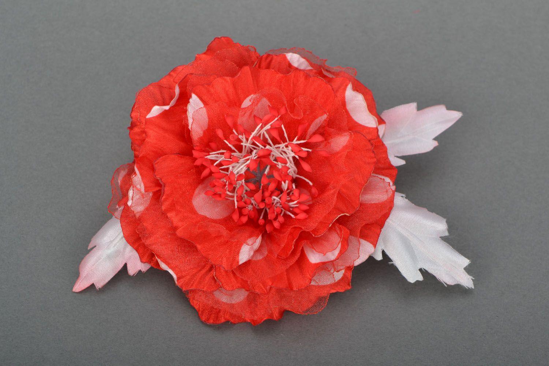 Handmade brooch Scarlet Flower photo 1