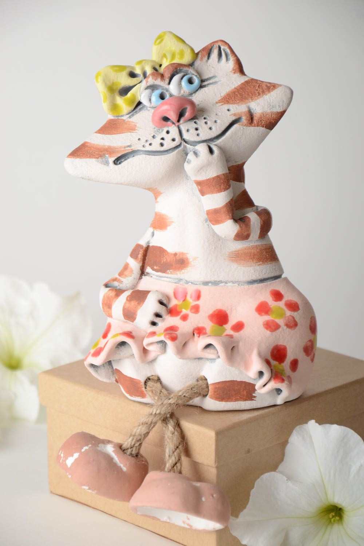 huchas Hucha de cerámica hecha a mano elemento decorativo alcancía decorada Gata - MADEheart.com