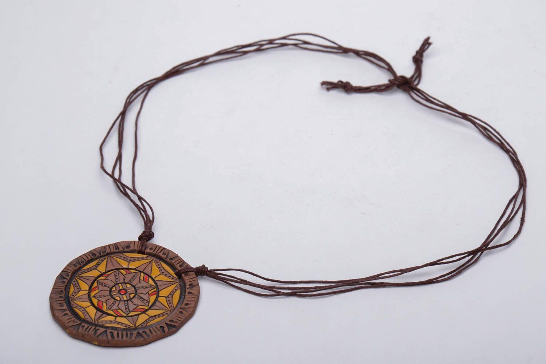 Ceramic pendant with ornament photo 3