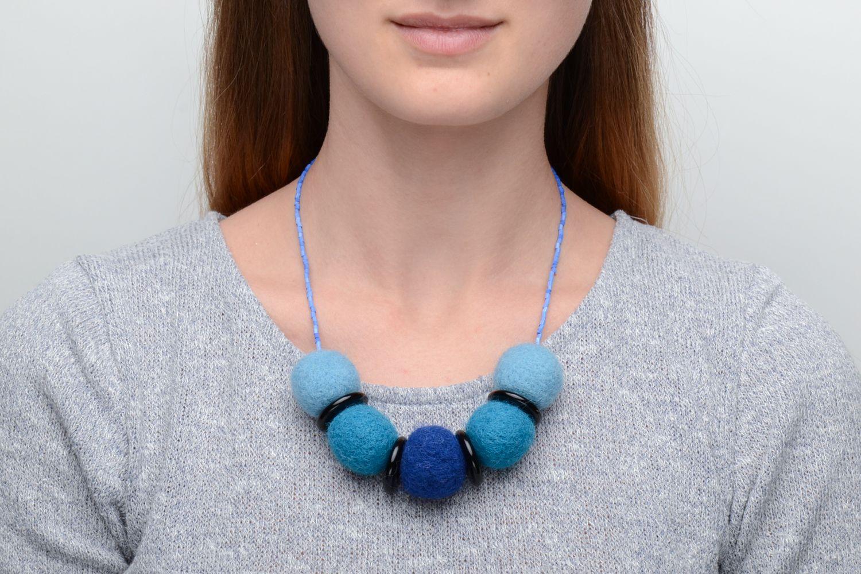 Wool felt necklace in blue color palette  photo 5