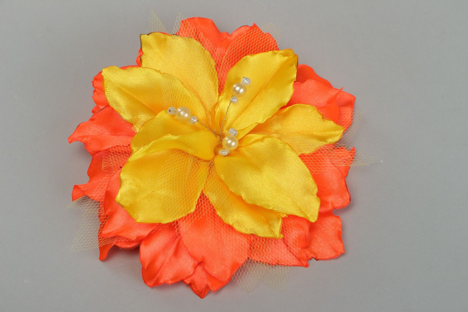 Madeheart Handmade Hair Clip With Volume Yellow And Orange Lily