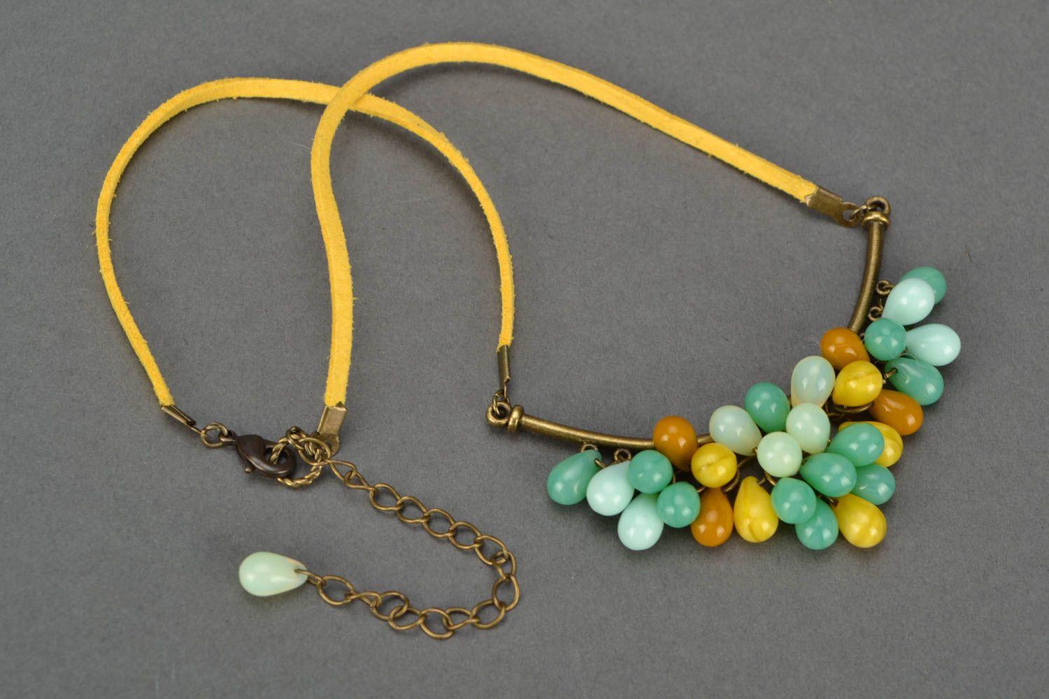 Beautiful women's handmade designer suede cord necklace with Czech glass beads photo 3