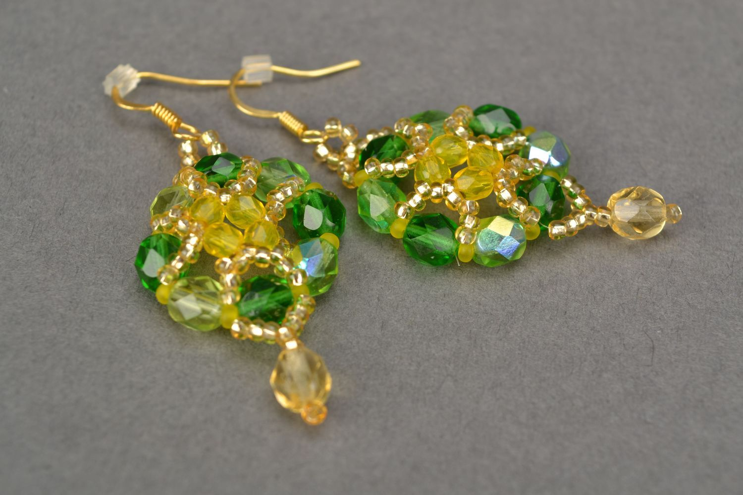 Beaded jewelry set of bracelet and earrings Spring photo 4