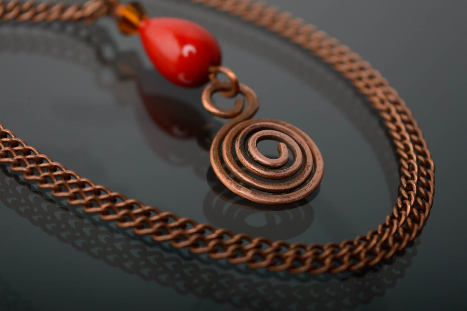 Copper pendant with natural coral photo 5