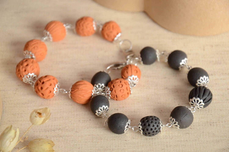 Set of 2 handmade beaded bracelets ceramic bracelets fashion accessories photo 2
