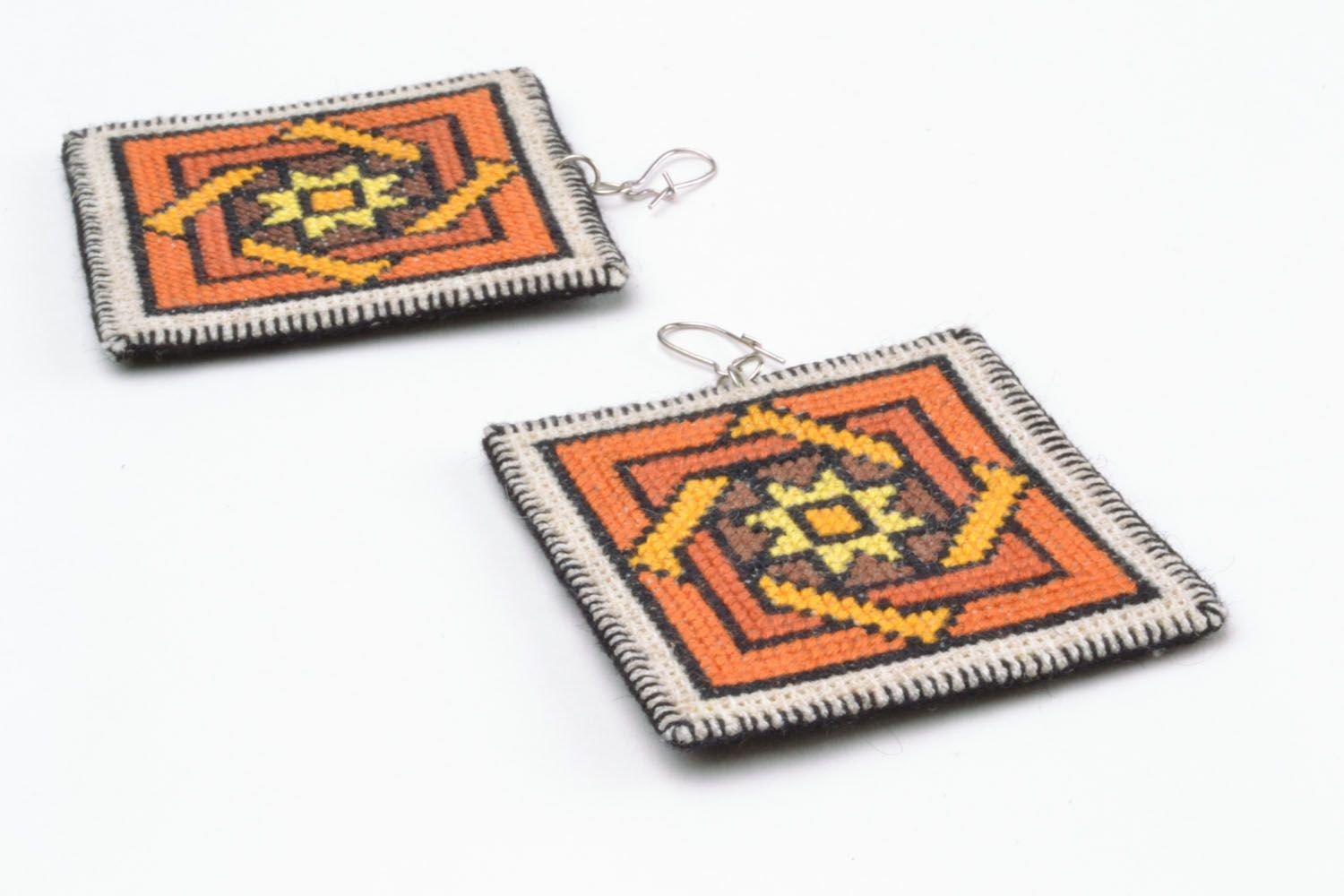 Unique embroidered earrings photo 5