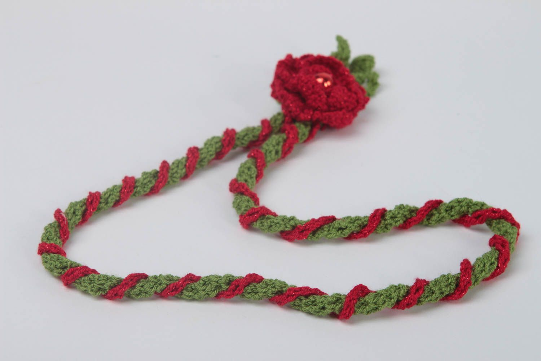 Unusual red pendant gift crocheted textile pendant stylish female jewelry photo 5