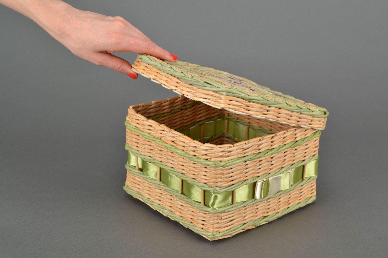 Плетение коробки из бумаги своими руками 67
