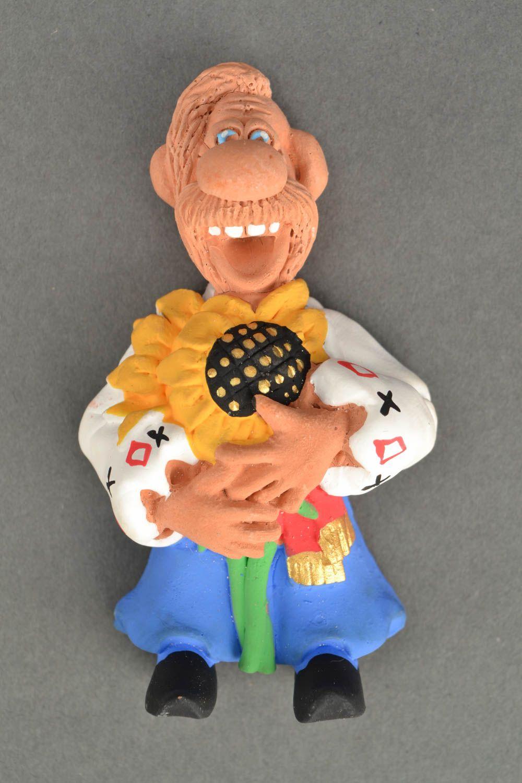 Clay fridge magnet Cossack with Sunflower photo 5
