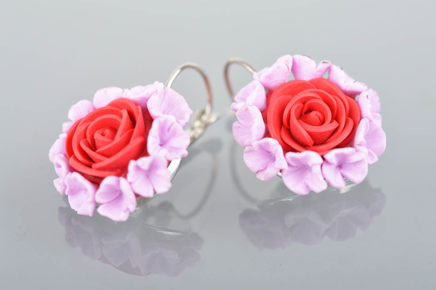 polymer clay earrings Handmade polymer clay earrings with clasps beautiful summer flower accessory - MADEheart.com