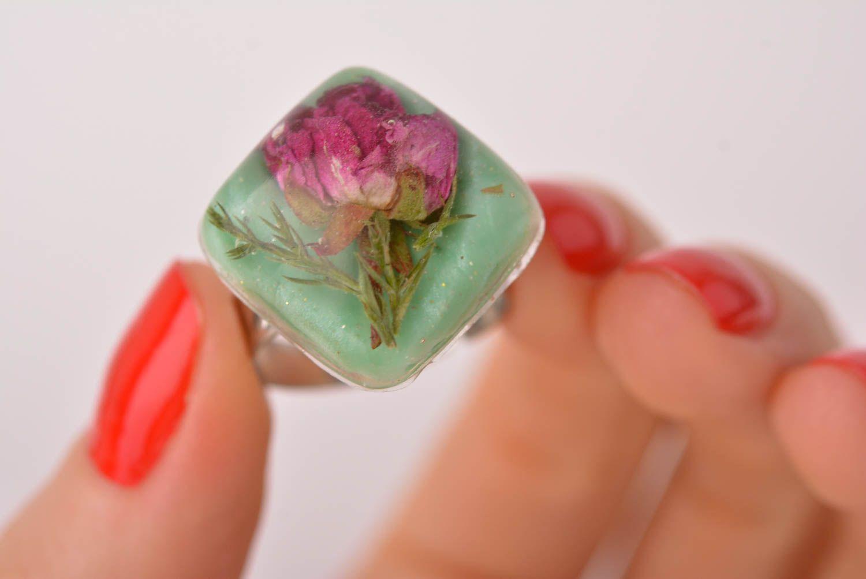 Handmade epoxy resin ring unusual feminine ring elegant jewelry for women photo 5