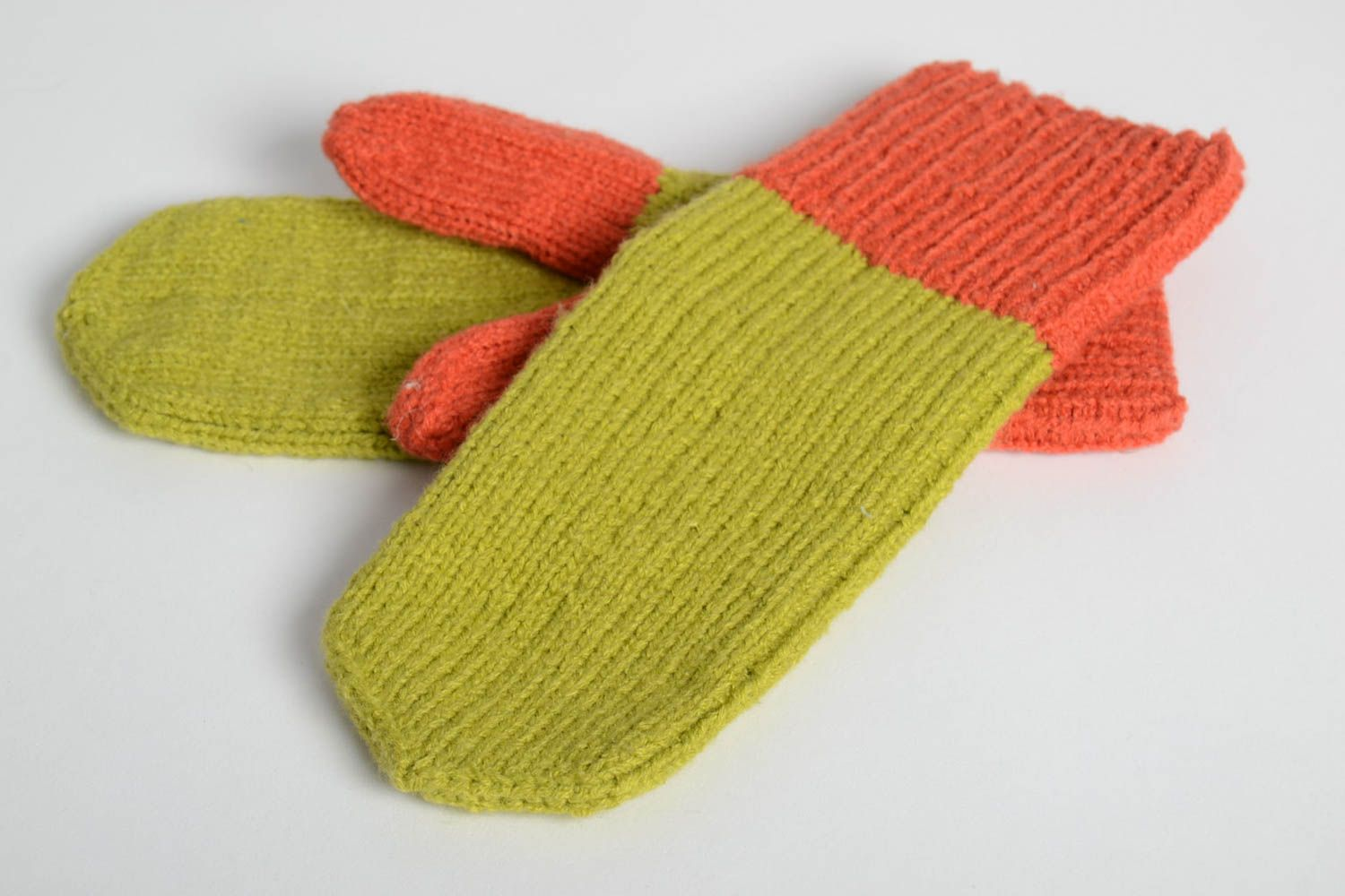 Handmade bright beautiful mittens designer knitted mittens winter clothes photo 5