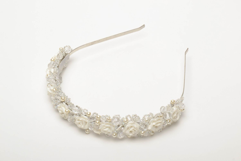 headbands and wreaths Beautiful festive flower headband with beads - MADEheart.com