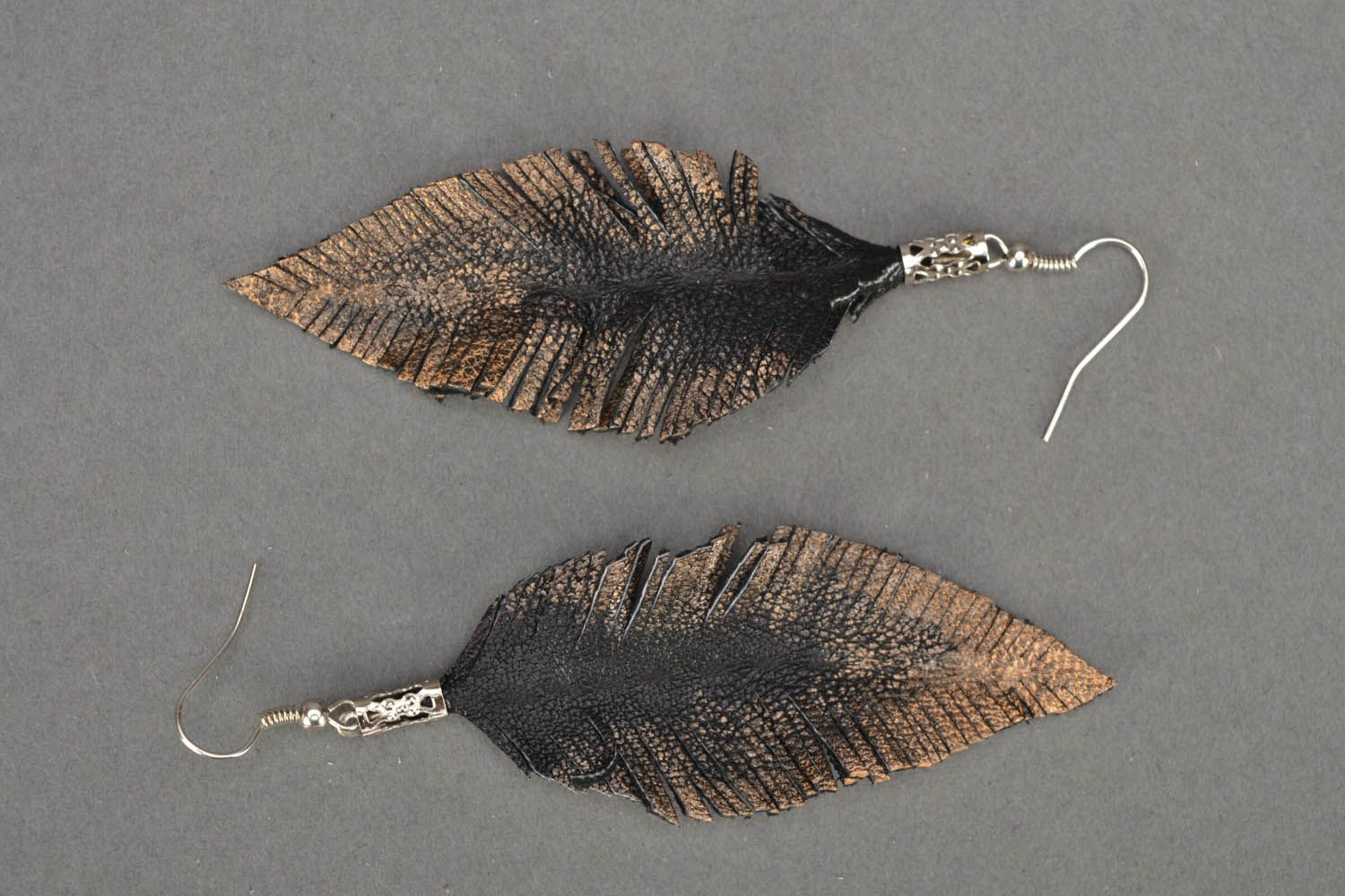Leather earrings Leaves photo 2