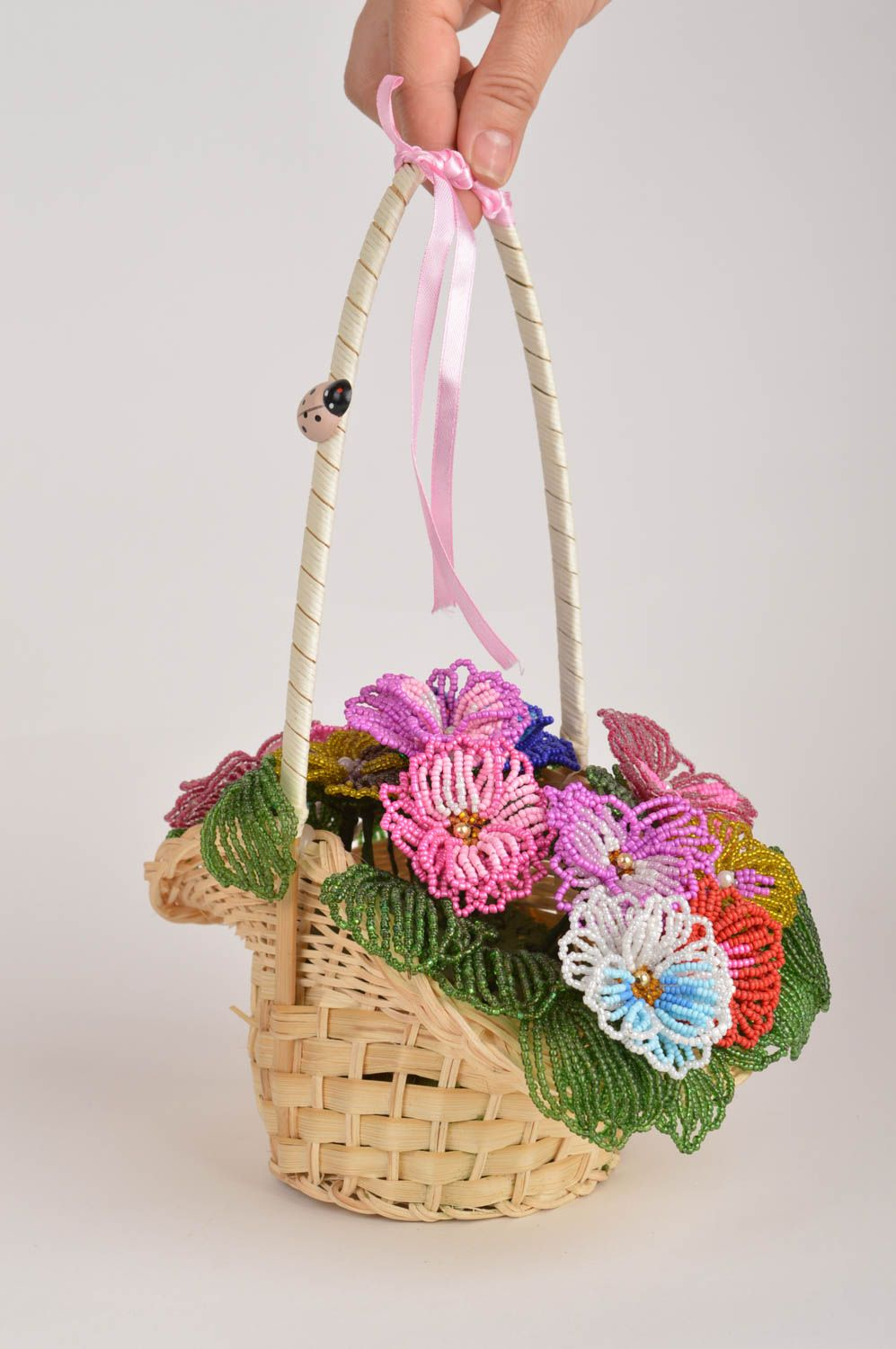 Handmade decorative basket with artificial beaded colorful flowers for interior photo 3