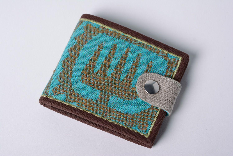 Handmade cotton and denim women's wallet photo 1