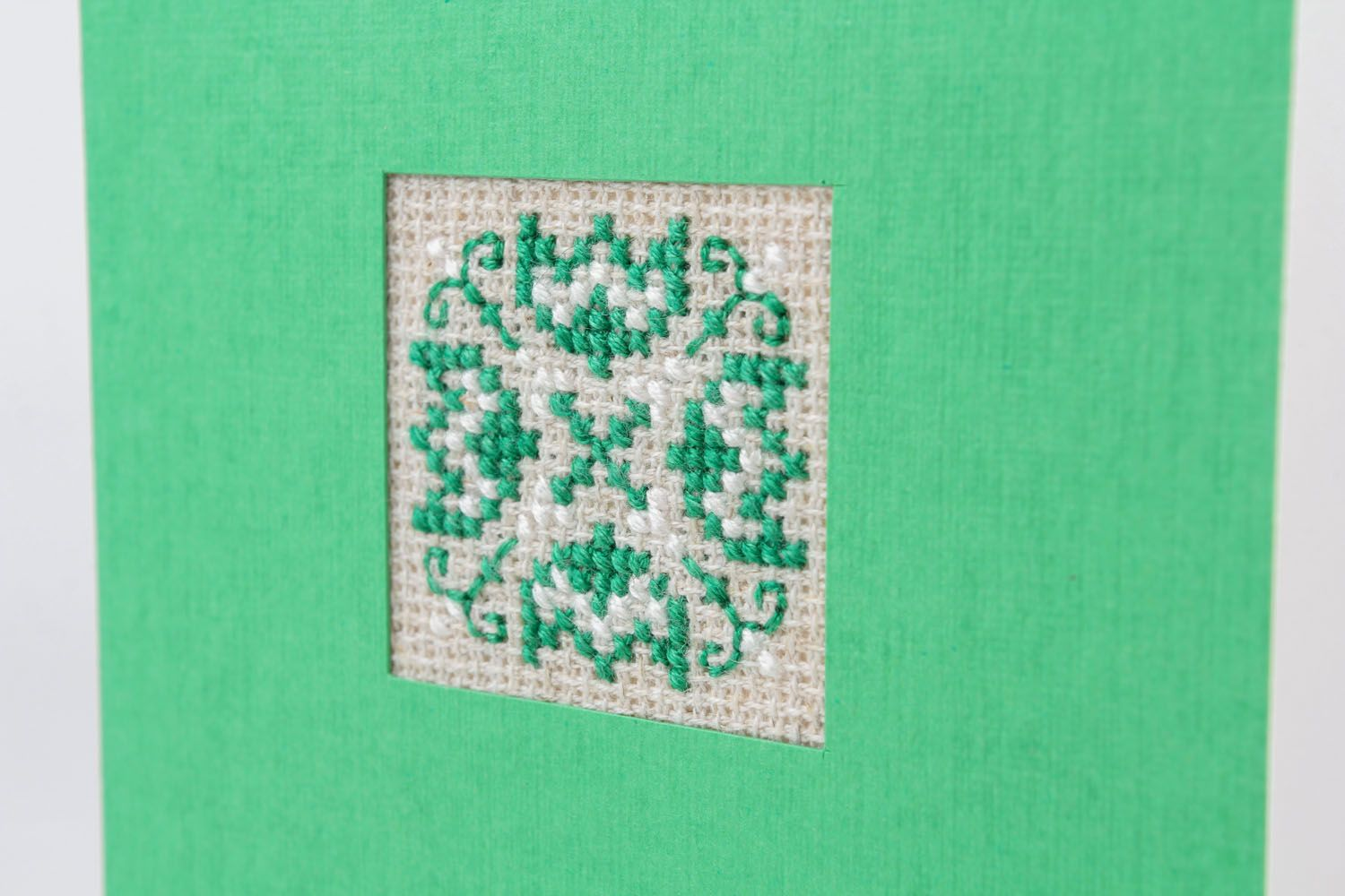 Green embroidered greeting card photo 3
