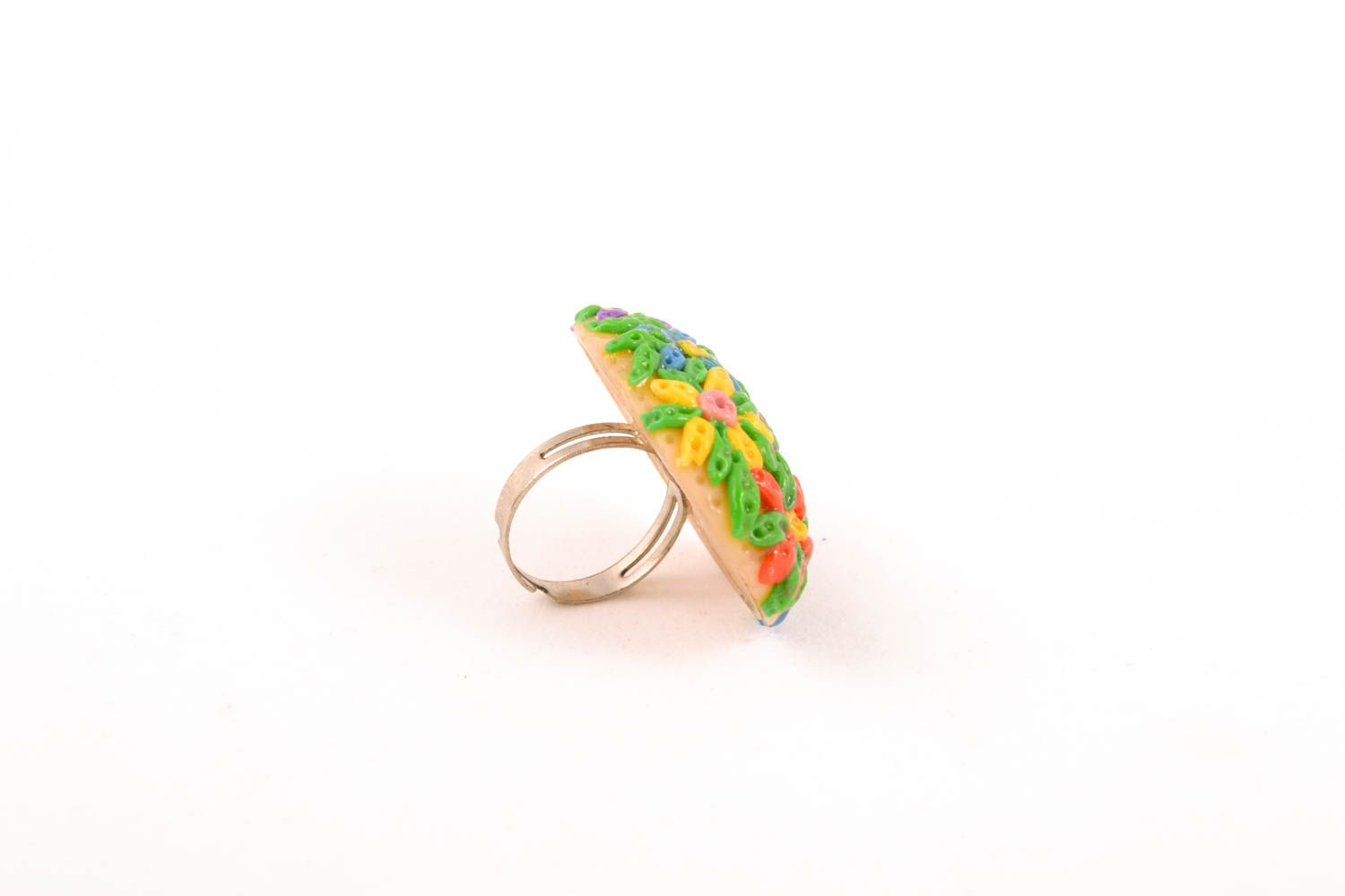 Floral polymer clay ring photo 2